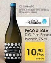 Oferta de D.O.Rias Baixas branco, 75cl por 10,9€