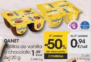 Oferta de Natillas de vainilla o chocolate, 4x120g por 1,89€