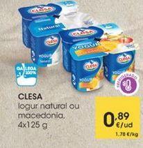 Oferta de Iogur natural ou macedonia, 4x125g por 0,89€