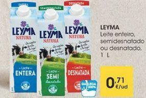 Oferta de Leite enteiro, semidesnatado ou desnatado, 1L por 0,71€