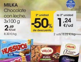 Oferta de Chocolate con leche, 3x100 g por 2,49€