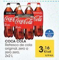 Oferta de COCA COLA Refresco de cola original, zero o zero zero, 2x2 L por 3,16€