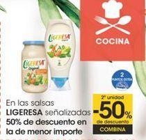 Oferta de En las salsas LIGERESA señalizadas 50% de descuento en la de menor importe por