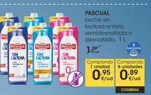 Oferta de PASCUAL Leche sin lactosa entera, semidesnatada o desnatada,1 L por 0,95€