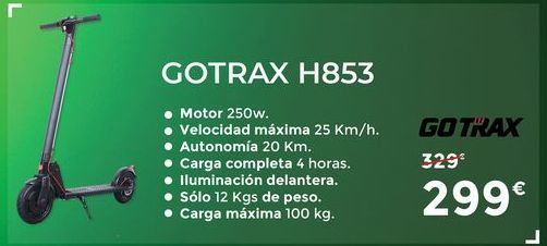 Oferta de Patinete GOTRAX H853 por 299€