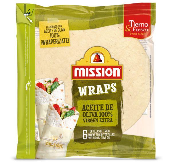 Oferta de Mission Foods - Wraps Aceite de Oliva. AHORRO:  por 0,65€