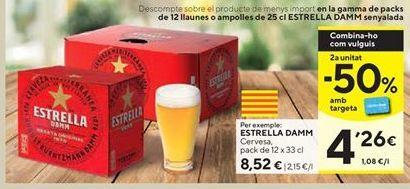 Oferta de Cerveza Estrella Damm por 8,52€