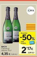 Oferta de Cava brut nature Bach por 4,35€