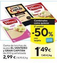 Oferta de Queso en lonchas queso el Ventero y gran capitán  por 2,99€