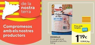 Oferta de Pechuga de pavo Monells por 1,19€