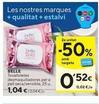 Oferta de Toallitas desmaquillantes Belle por 1,04€