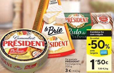 Oferta de Queso brie Président por 3€