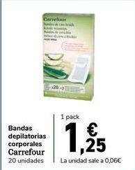 Oferta de Bandas depilatorias corporales Carrefour por 1,25€