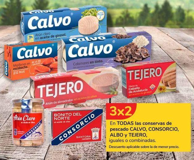 Oferta de En TODAS las conservas de pescado CALVO, CONSORCIO, ALBO y TEJERO por