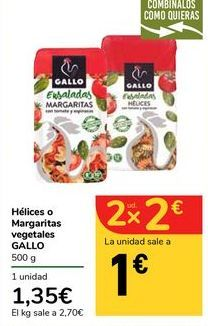 Oferta de Hélices o Margaritas vegetales GALLO por 1,35€