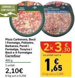 Oferta de Pizza Carbonara, Bacon y Queso, Pollo, Barbacoa, Jamón y Queso, Atún y Bacon o 4 Quesos Carrefour por 2,1€