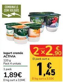 Oferta de Yogur cremoso ACTIVIA por 1,89€