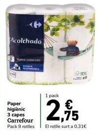 Oferta de Papel higiénico 3 capas Carrefour por 2,75€