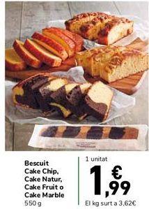 Oferta de Bizcocho Cake Chip, Cake Natur, Cake Fruit o Cake Marble por 1,99€