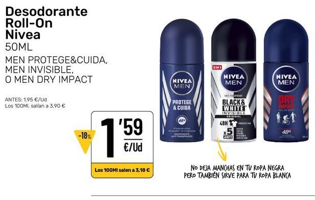 Oferta de Desodorante roll on por 1,59€