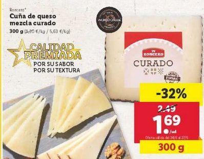 Oferta de Cuña de queso mezcla curado  Roncero por 1,69€