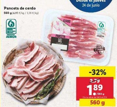 Oferta de Panceta de cerdo por 1,89€