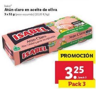 Oferta de Atún claro en aceite de oliva Isabel por 3,25€