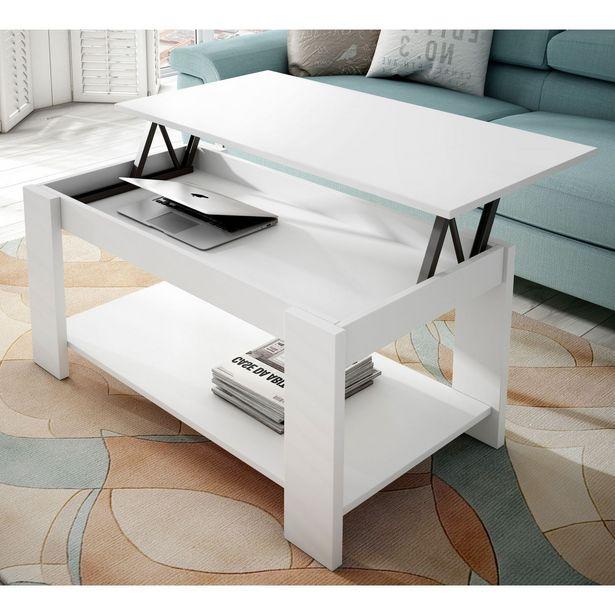 Oferta de Mesa centro elevable blanca 101x55 en Ahorro Total por 79€