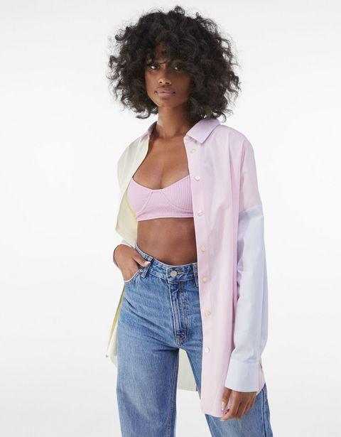 Oferta de Camisa oversize popelin color block bicolor por 3,99€