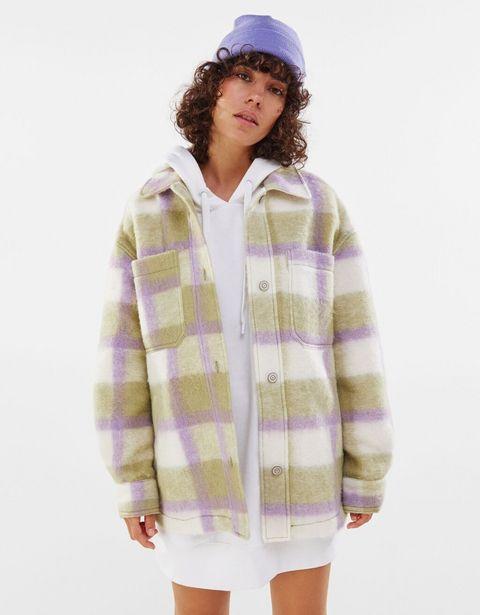 Oferta de Sobrecamisa lana oversize cuadros por 7,99€