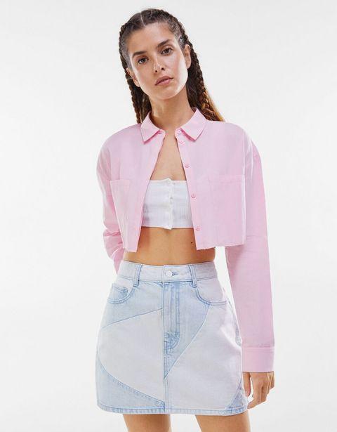 Oferta de Falda mini denim contraste por 5,99€