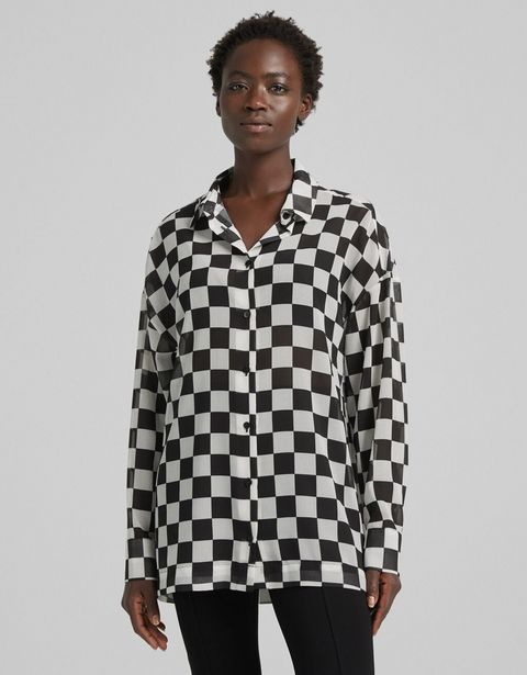 Oferta de Camisa manga larga efecto chifón print cuadros por 11,99€