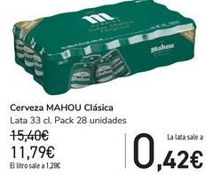 Oferta de Cerveza MAHOU Clásica por 11,79€