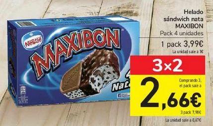 Oferta de Helado sándwich nata MAXIBON por 3,99€