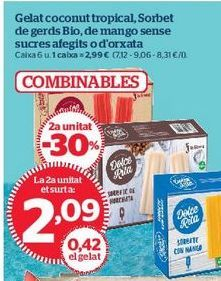 Oferta de Helado coconut tropical, Sorbete de frambuesa Bio, de mango sin azúcares añadidos o de horchata por 2,09€
