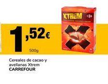 Oferta de Cereales de cacao y avellanas Xtrem Carrefour por 1,52€