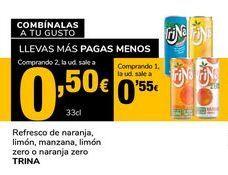 Oferta de Refresco de naranja, limón, manzana, limón zero o naranja zero Trina por 0,55€