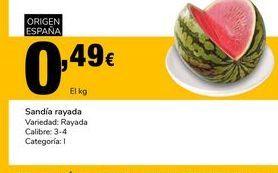 Oferta de Sandía rayada Variedad: Rayada Calibre:3-4 Categoría:I por 0,49€