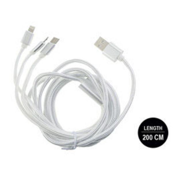 Oferta de CABLE USB SSUNG/IP/TIPO C*200 BLANCO por 7€