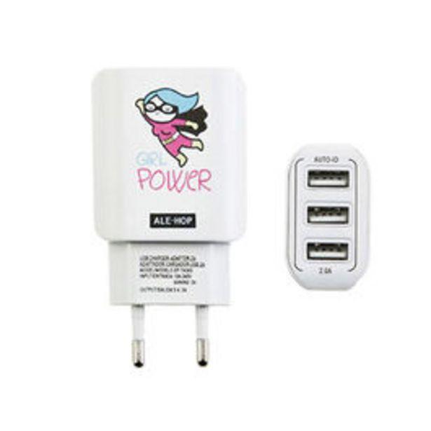 Oferta de ENCHUFE CARGADOR USB  3 PUERTOS GIRL POWER por 5€