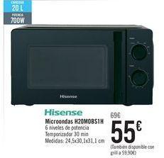 Oferta de Hisense Microondas H20MOBS1H por 55€