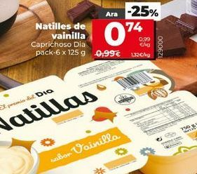 Oferta de Natillas de vainilla por 0,74€