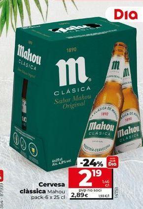 Oferta de Cerveza Mahou por 2,19€