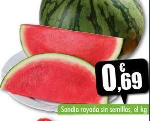 Oferta de Sandía rayada sin semillas, el kg por 0,69€