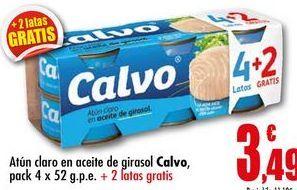 Oferta de Atún claro en aceite de girasol Calvo pack 4 x 52 g.p.e. por 3,49€