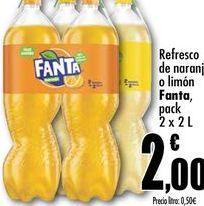 Oferta de Refresco de naranja o limon Fanta, pack 2x2L por 2€