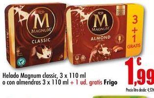 Oferta de Helado Magnum classic, pack 3 x 110 ml o con almendras 3 x 110 ml  por 1,99€