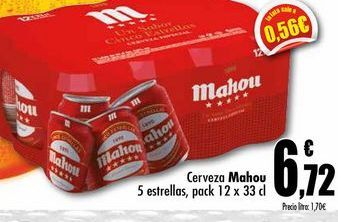 Oferta de Cerveza Mahou 5 estrellas, pack 12x33cl por 6,72€