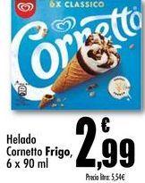 Oferta de Helado Cornetto Frigo, 6x90 ml por 2,99€