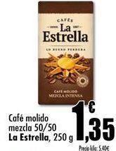 Oferta de Café molido mezcla 50/50 La Estrella, 250g por 1,35€